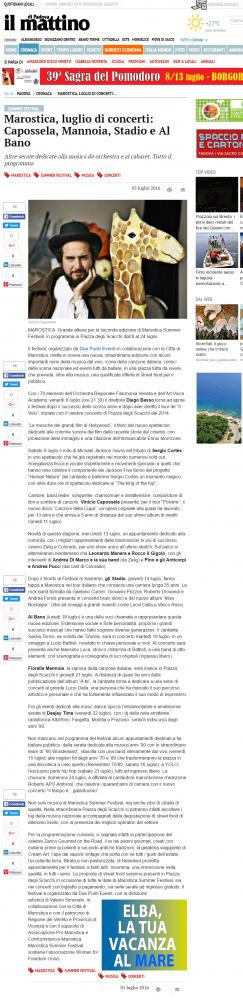 MAROSTICA LUGLIO DI CONCERTI: CAPOSSELA, MANNOIA, STADIO, AL BANO