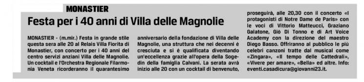 FESTA PER I 40 ANNI DI VILLA DELLE MAGNOLIE