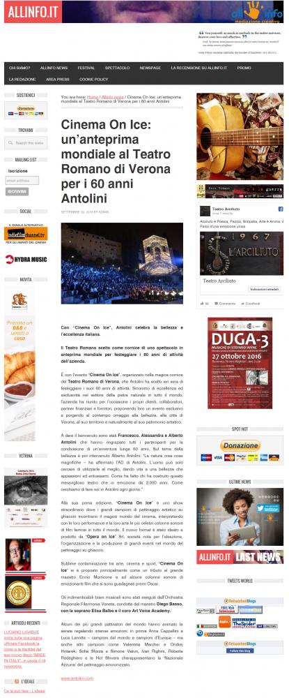 CINEMA ON ICE: UN'ANTEPRIMA MONDIALE AL TEATRO ROMANO DI VERONA PER I 60 ANNI DI ANTOLINI